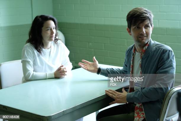 Pictured LR Guest star Britt Lower and Adam Scott in the 'Succubus' episode of GHOSTED airing Sunday Oct 15 on FOX