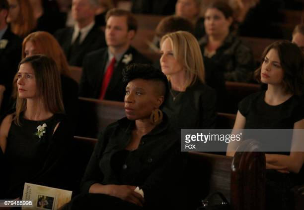 Pictured LR Guest star Jill Hennessy Aisha Hinds Helen Hunt and Conor Leslie in the 'Hour Two Betrayal of Trust' episode of SHOTS FIRED airing...