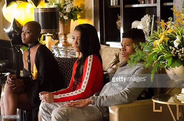Pictured LR Guest stars Veronika Bozeman Jamila Velazquez and Bryshere Gray in the Past is Prologue season finale episode of EMPIRE airing Wednesday...
