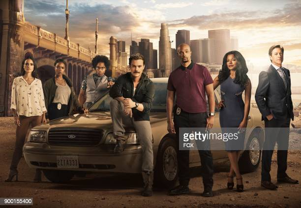 Pictured LR Jordana Brewster Michelle Mitchenor Johnathan Fernandez Clayne Crawford Damon Wayans Keesha Sharp and Kevin Rahm on Season Two of LETHAL...