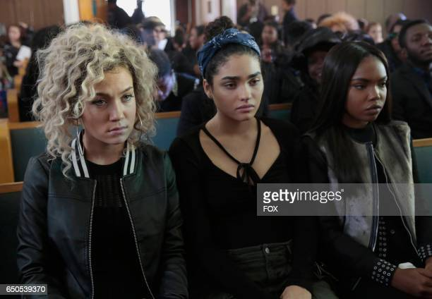Pictured LR Jude Demorest Brittany O'Grady and Ryan Destiny in the 'Black Wherever I Go' episode of STAR airing Wednesday Feb 8 on FOX