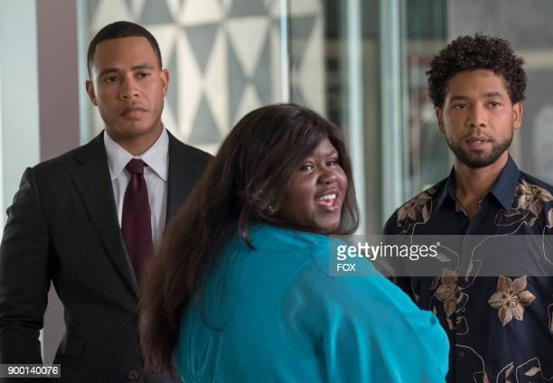 Pictured LR Trai Byers Gabourey Sidibe and Jussie Smollett in the 'Bleeding War' episode of EMPIRE airing Wednesday Oct 18 on FOX