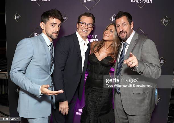 Luis Gerardo Mendez Sean Hayes Jennifer Aniston and Adam Sandler poses backstage during the 2019 E People's Choice Awards held at the Barker Hangar...
