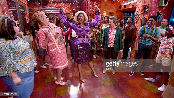 Pictured: Maddie Baillio as Tracy Turnblad, Harvey Fierstein as Edna Turnblad, Jennifer Hudson as Motormouth Maybelle, Martin Short as Wilbur...