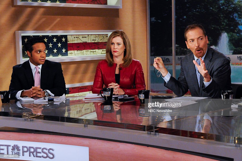 Manu Raju, Senior Congressional Reporter, Politico, Stephanie Cutter, Fmr. Deputy Campaign Manager for Barack Obama, and moderator Chuck Todd appear on 'Meet the Press' in Washington, D.C., Sunday, Oct. 19, 2014.