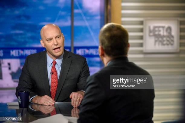 """Pictured: -- Marc Short, Chief of Staff to Vice President Mike Pence, and moderator Chuck Todd appear on Meet the Press"""" in Washington, D.C., Sunday,..."""