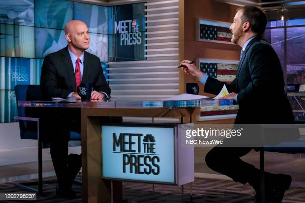 """Pictured: --Marc Short, Chief of Staff to Vice President Mike Pence, and moderator Chuck Todd appear on Meet the Press"""" in Washington, D.C., Sunday,..."""