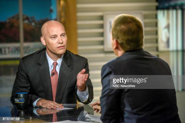 Marc Short White House Director of Legislative Affairs and moderator Chuck Todd appear on 'Meet the Press' in Washington DC Sunday Nov 12 2017