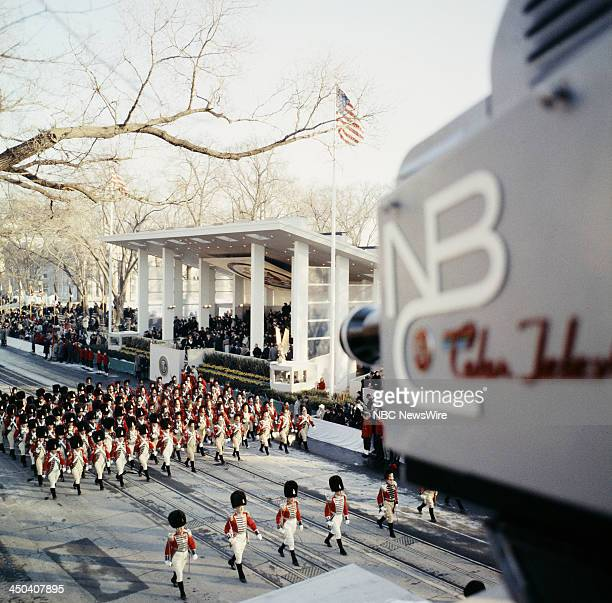 Marchers in the inaugural parade during the Inauguration of President John F Kennedy on January 20 1961 in Washington DC