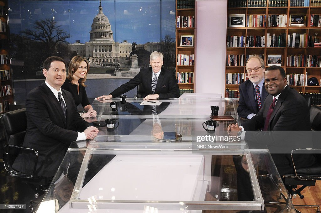 – Mark Halperin, Time Magazine, left, Savannah Guthrie, Co-Host, NBC's Today, left rear, moderator David Gregory, center, Mike Murphy, Republican Strategist, right rear, and Atlanta Mayor Kasim Reed (D) right, appear on 'Meet the Press' in Washington D.C., Sunday, March 4, 2012.