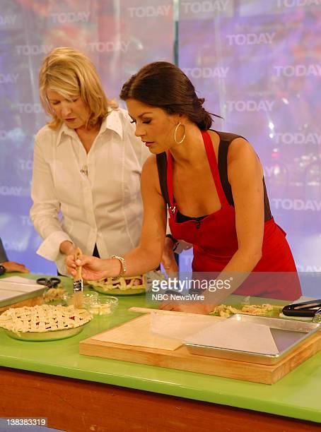 Martha Stewart cooks in NBC News' TODAY kitchen while talking to actress Catherine ZetaJones about her new movie No Reservations on July 25 2007
