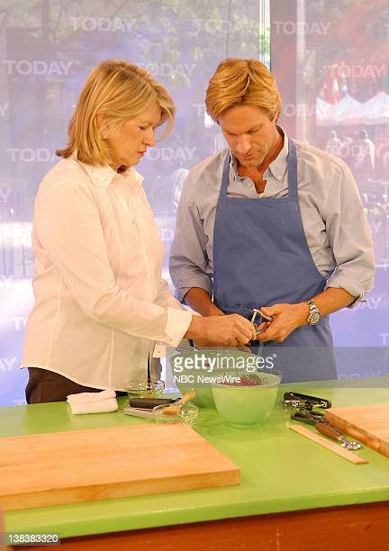Martha Stewart cooks in NBC News' TODAY kitchen while talking to actor Aaron Eckhart about his new movie No Reservations on July 25 2007