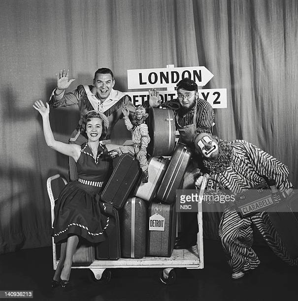 Marti Barris as Peppi Mint Bob Smith as Buffalo Bob Smith Howdy Doody unknown cast member Lew Anderson as Clarabell the Clown Photo by NBCU Photo Bank