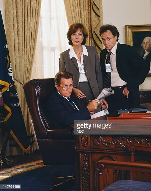 "Pictured: Martin Sheen as President Josiah ""Jed"" Bartlet, Allison Janney as Claudia Jean 'C.J.' Cregg, Bradley Whitford as Josh Lyman -- Photo by:..."