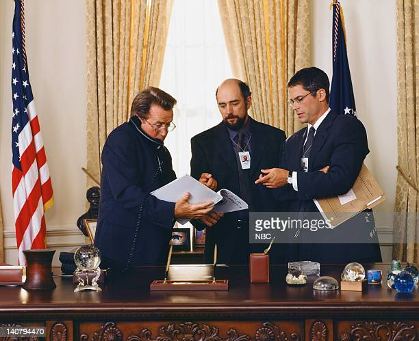 Martin Sheen as President Josiah Jed Bartlet Richard Schiff as Toby Ziegler Rob Lowe as Sam Seaborn Photo by Steve Schapiro/NBCU Photo Bank