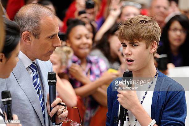 Matt Lauer and Justin Bieber appear on NBC News' 'Today' show