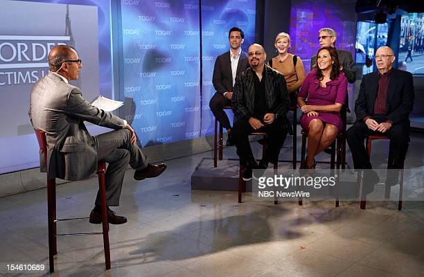 Matt Lauer Danny Pino Ice T Kelli Giddish Richard Belzer Mariska Hargitay and Dann Florek appear on NBC News' Today show