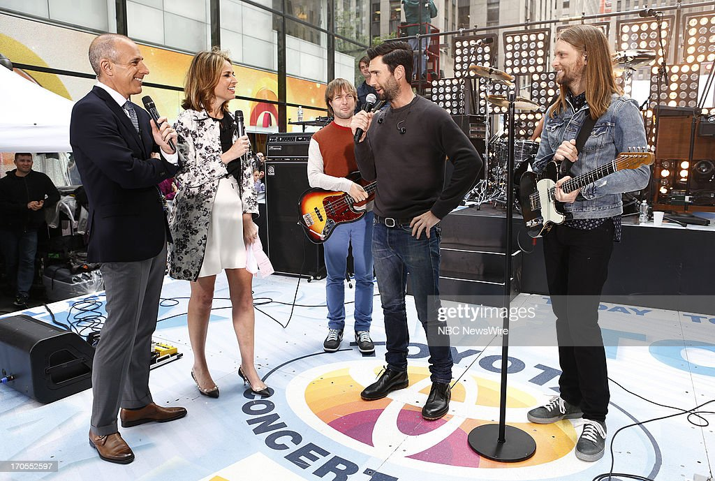 Matt Lauer, Savannah Guthrie, Adam Levine and James Valentine of Maroon 5 appear on NBC News' 'Today' show --