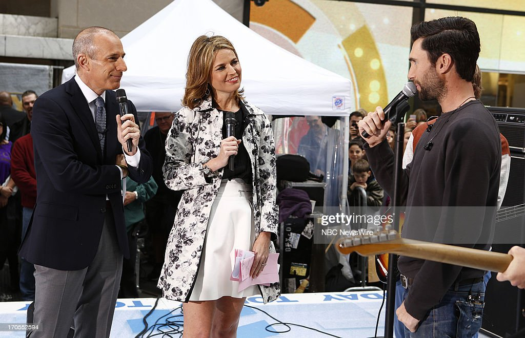 Matt Lauer, Savannah Guthrie and Adam Levine of Maroon 5 appear on NBC News' 'Today' show --