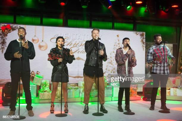 Matt Sallee Kirstin Maldonado Scott Hoying Mitch Grassi and Kevin Olusola of The Pentatonix perform on Thursday November 30 2017