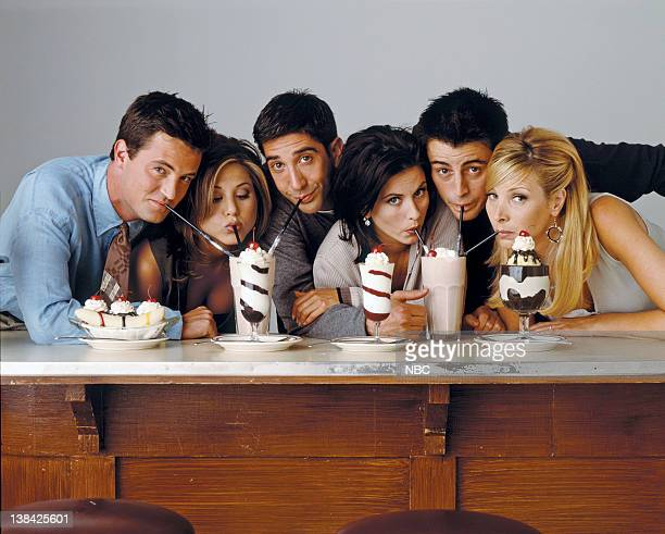 Matthew Perry as Chandler Bing, Jennifer Aniston as Rachel Green, David Schwimmer as Ross Geller, Courteney Cox as Monica Geller, Matt Le Blanc as...