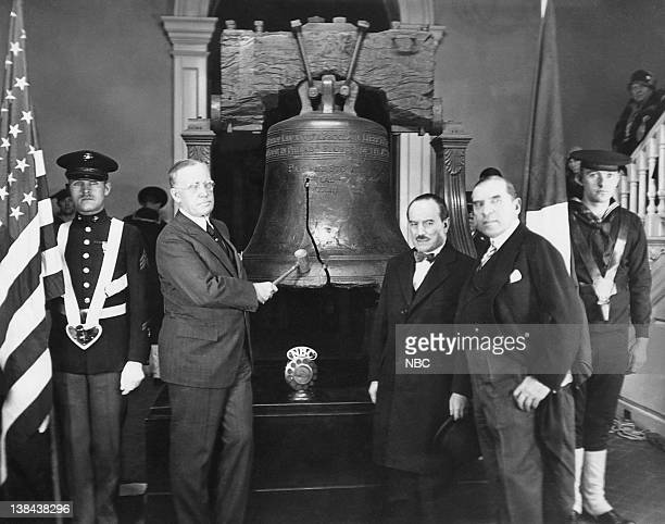 Mayor of Philidelphia HA Mackay rings the Liberty Bell with Chilean Ambassador to the US Dr Carlos Davila and Congressman Sol Bloom of NY on February...