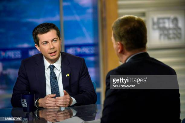 Mayor Pete Buttigieg Democratic Presidential Candidate and Moderator Chuck Todd appear on Meet the Press in Washington DC Sunday April 7 2019