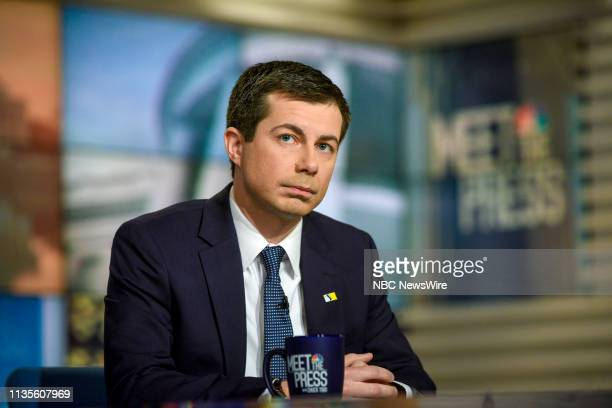 "Pictured: Mayor Pete Buttigieg, Democratic Presidential Candidate, and Moderator Chuck Todd appear on ""Meet the Press"" in Washington, D.C., Sunday,..."