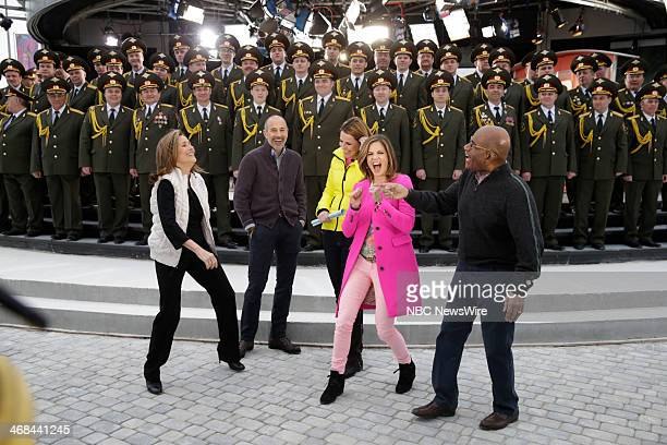 Meredith Vieira Matt Lauer Savannah Guthrie Natalie Morales Al Roker with the Russian Police Choir from the 2014 Olympics in Socci