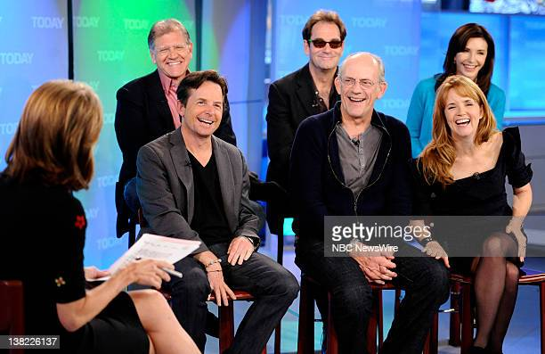Meredith Vieira Robert Zemeckis Michael J Fox Huey Lewis Christopher Lloyd Mary Steenburgen and Lea Thompson appear on NBC News' 'Today' show