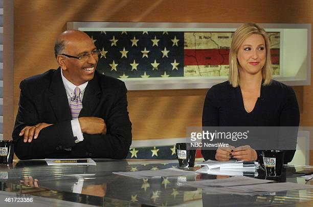 Michael Steele Fmr Chairman of the Republican National Committee left and Carol Lee White House Correspondent The Wall Street Journal right appear on...