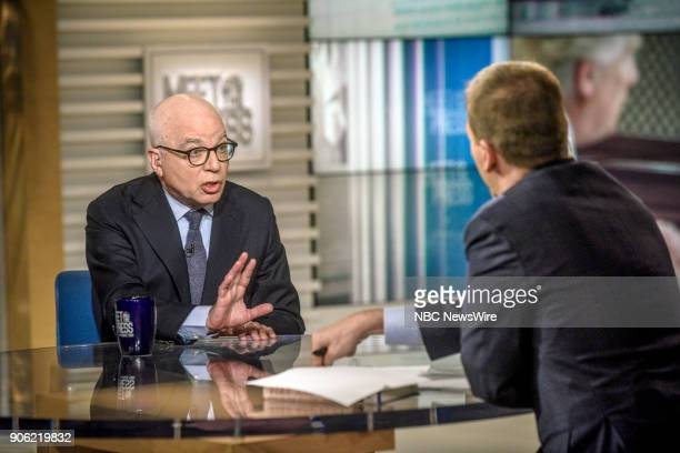 Michael Wolff author Fire and Fury Inside the Trump White House and moderator Chuck Todd appear on 'Meet the Press' in Washington DC Sunday Jan 7 2018