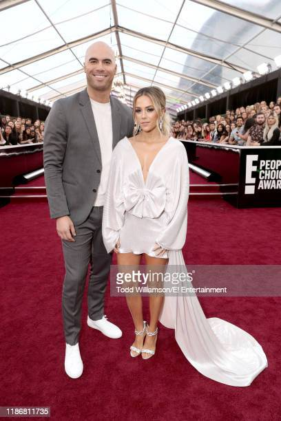 Pictured: Mike Caussin and Jana Kramer arrive to the 2019 E! People's Choice Awards held at the Barker Hangar on November 10, 2019. -- NUP_188990