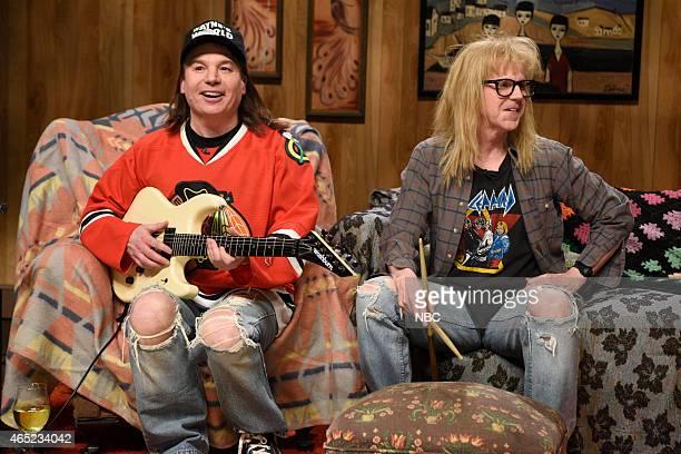 Mike Meyers as Wayne Dana Carvey as Garth during the Wayne's World skit on February 15 2015