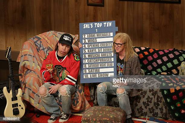 Mike Myers as Wayne Campbell Dana Carvey as Darth Algar during the Wayne's World skit on February 15 2015