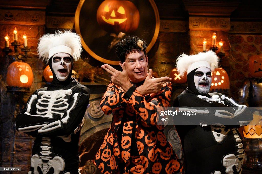 mikey day as a skeleton dancer tom hanks as david s pumpkins bobby