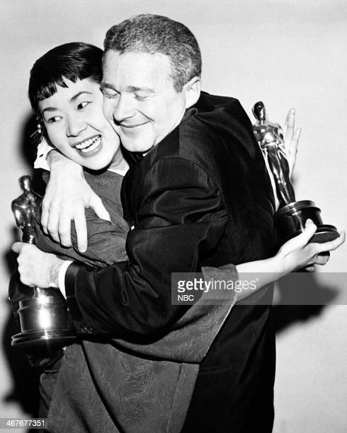 Miyoshi Umeki winner of Best Supporting Actress for 'Sayonara' Red Buttons Best Supporting Actor for 'Sayonara' during the 30th Annual Academy Awards...
