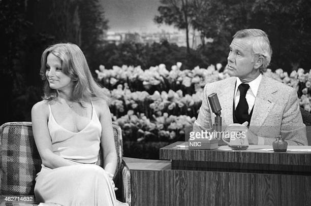 Model Claudia Jennings during an interview with host Johnny Carson on March 29 1978