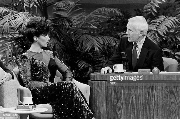 Model/police officer Adela Rivera during an interview with host Johnny Carson on April 18 1986