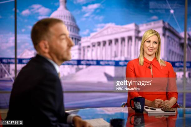 Moderator Chuck Todd and Carol Lee NBC News Correspondent appear on Meet the Press in Washington DC Sunday August 18 2019