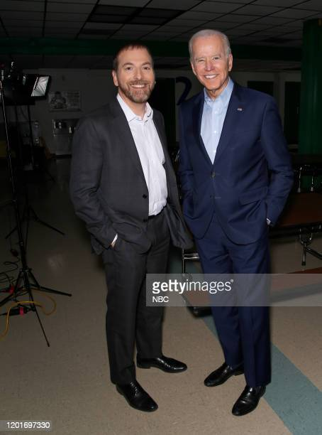 Moderator Chuck Todd and FMR VP Joe Biden appear in a pretaped interview on Meet the Press at O Knudson Middle School in Las Vegas NV on Saturday Feb...