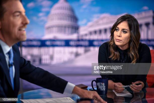 Moderator Chuck Todd and Hallie Jackson NBC News Chief White House Correspondent appear on Meet the Press in Washington DC Sunday August 26 2018