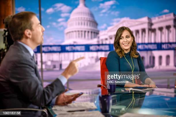 Moderator Chuck Todd and Hallie Jackson NBC News Chief White House Correspondent appear on Meet the Press in Washington DC Sunday Nov 18 2018