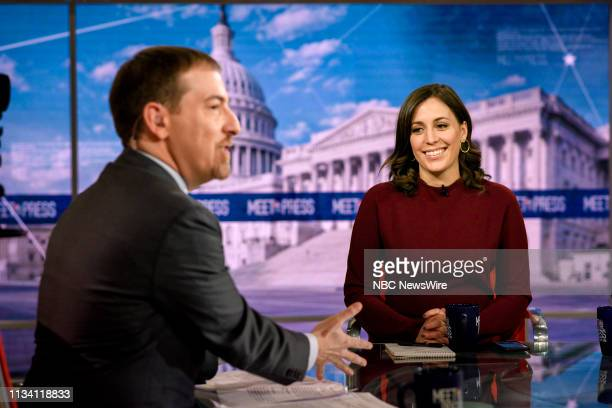 Moderator Chuck Todd and Hallie Jackson NBC News Chief White House Correspondent appear on Meet the Press in Washington DC Sunday March 31 2019