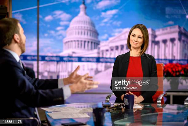 """Pictured: -- Moderator Chuck Todd and Heidi Przybyla, NBC News Correspondent, appear on Meet the Press"""" in Washington, D.C., Sunday, December 15,..."""