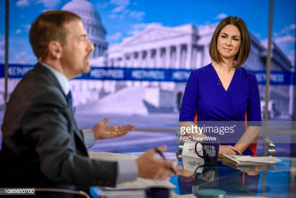 Moderator Chuck Todd and Heidi Przybyla NBC News National Political Reporter appear on Meet the Press in Washington DC Sunday Jan 20 2018