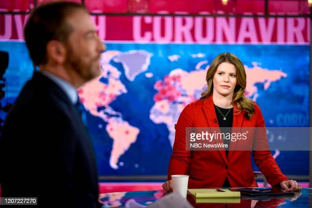 """Pictured: -- Moderator Chuck Todd and Kasie Hunt, host Kasie DC, appear on Meet the Press"""" in Washington, D.C., Sunday, March 15, 2020."""