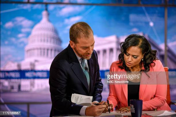 """Pictured: Moderator Chuck Todd and Kristen Welker, NBC News White House Correspondent, appear on """"Meet the Press"""" in Washington, D.C., Sunday..."""