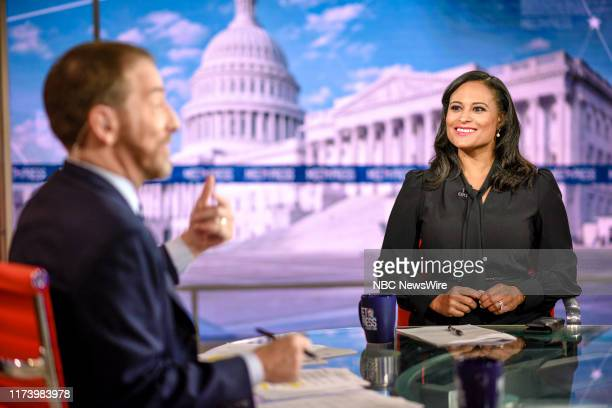 """Pictured: Moderator Chuck Todd and Kristen Welker, NBC News White House Correspondent, appear on """"Meet the Press"""" in Washington, D.C., Sunday October..."""