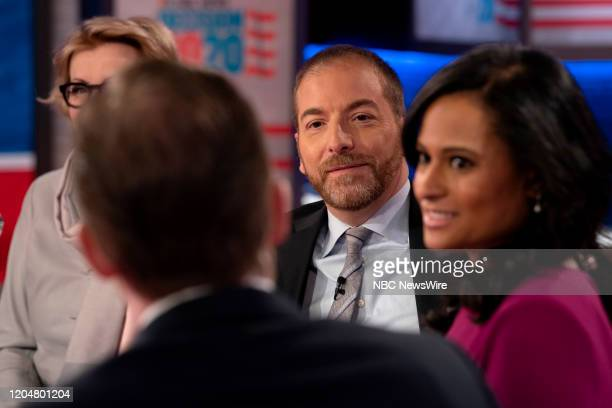 """Pictured: Moderator Chuck Todd and Kristen Welker, NBC News White House Correspondent appear on ?Meet the Press"""" in Studio 6A at Rockefeller Center..."""